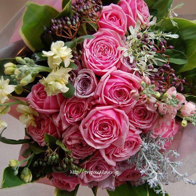 クリスマスフラワー・ピンク花束